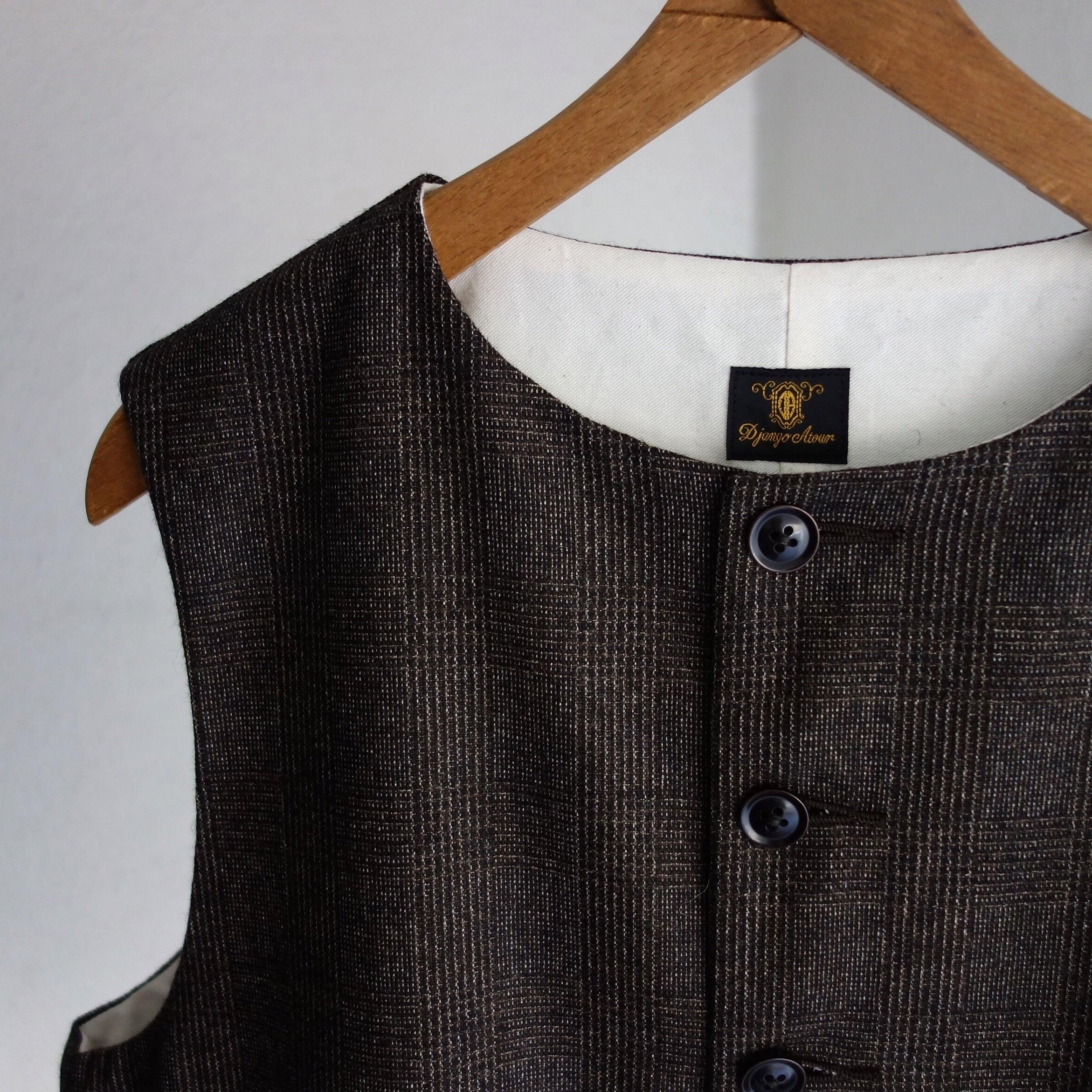 classic artisanal tweed vest / darkbrown