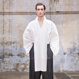 HED MAYNER - SCARF COLLAR SHIRT - AW21_S53_WHT COT - WHITE