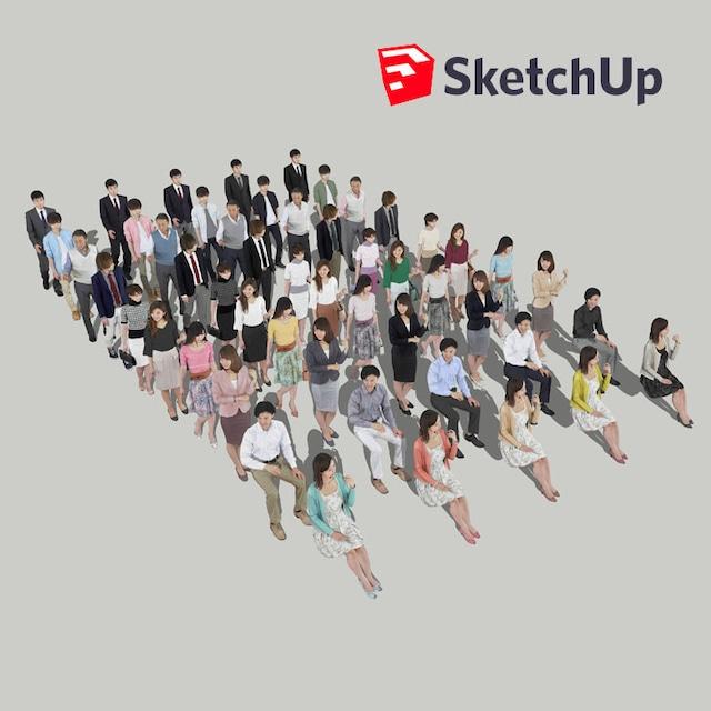 SketchUp素材 3D人物素材-ポーズド 10個セット 001_Posed-set - メイン画像
