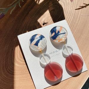 """ Earrings NO.danoan-111″ ネイビーリバティとビーズ"
