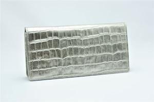 長財布(薄型)プラチナ箔・クロコダイル柄・プレミアム