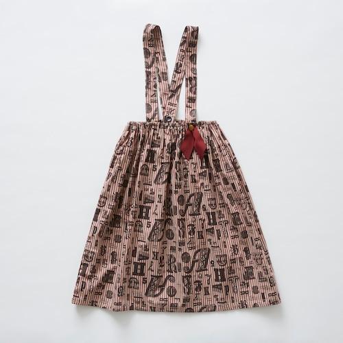 《eLfinFolk 2019SS》stripe × alphabetic print skirt / burgundy