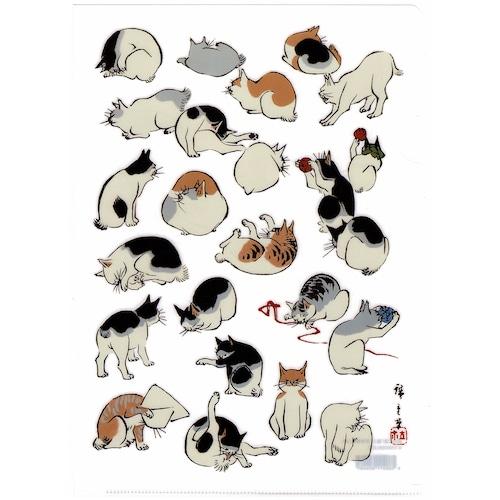 猫クリアファイル(歌川広重浮世画譜猫)A4