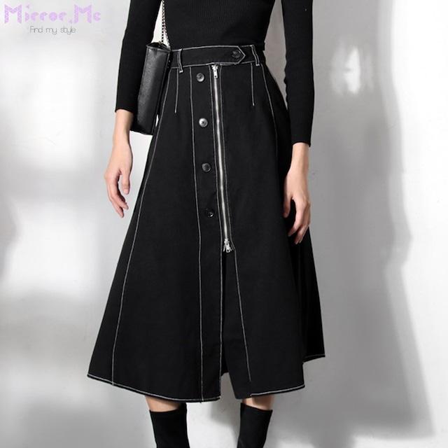 <Sサイズ1点即納>フロントボタンチャックステッチデザインブラックスカート
