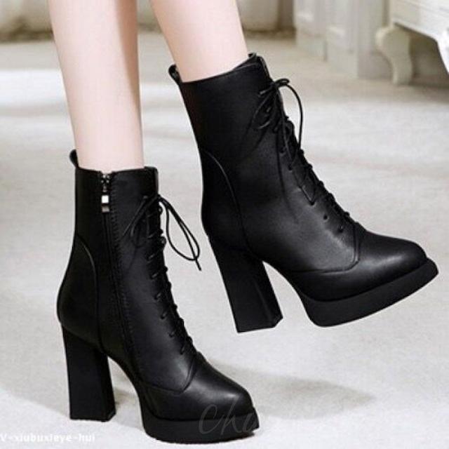 【シューズ】ファッション切り替えハイヒール防水ポインテッドトゥショート丈ブーツ35365260
