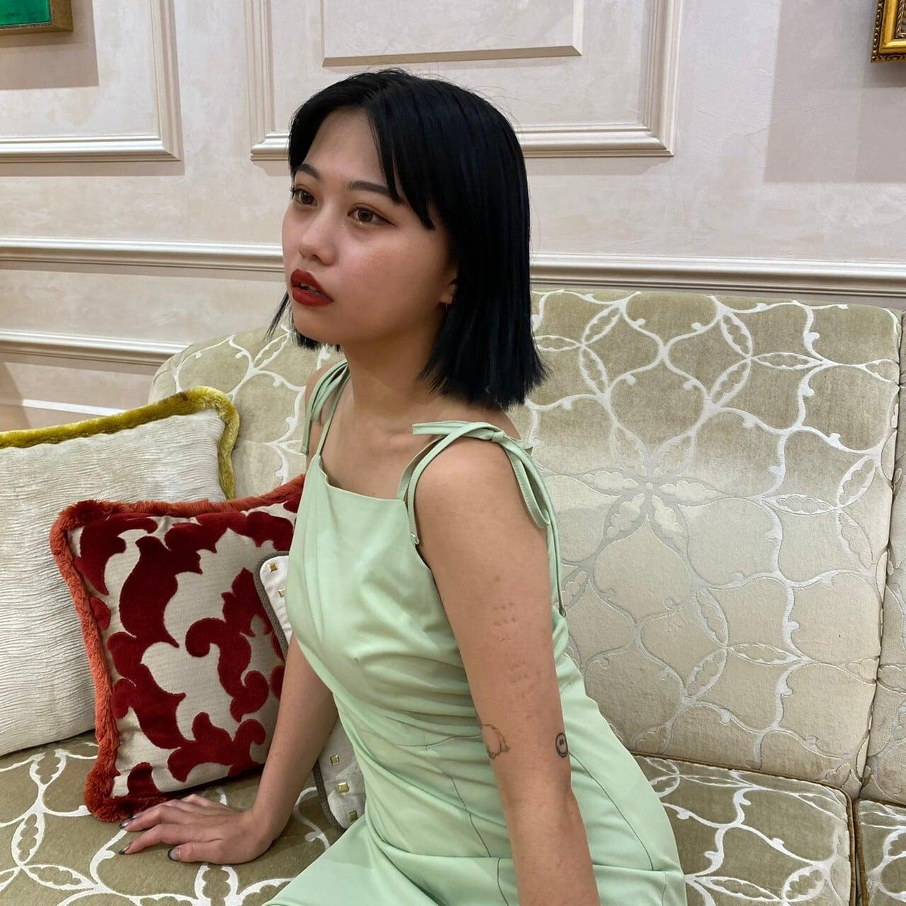 【Belle】shoulder ribbon slit onepiece / green