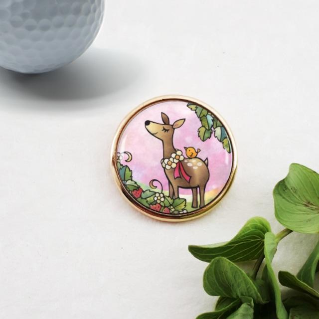 ゴルフマーカー :小鹿の花飾り