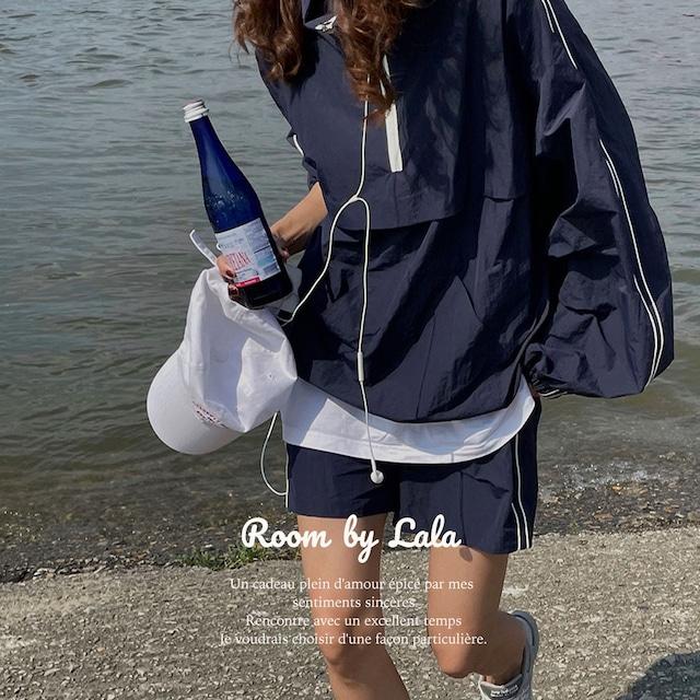 【即納】Zipper shirt + shorts / セットアップ (navy) LE202202