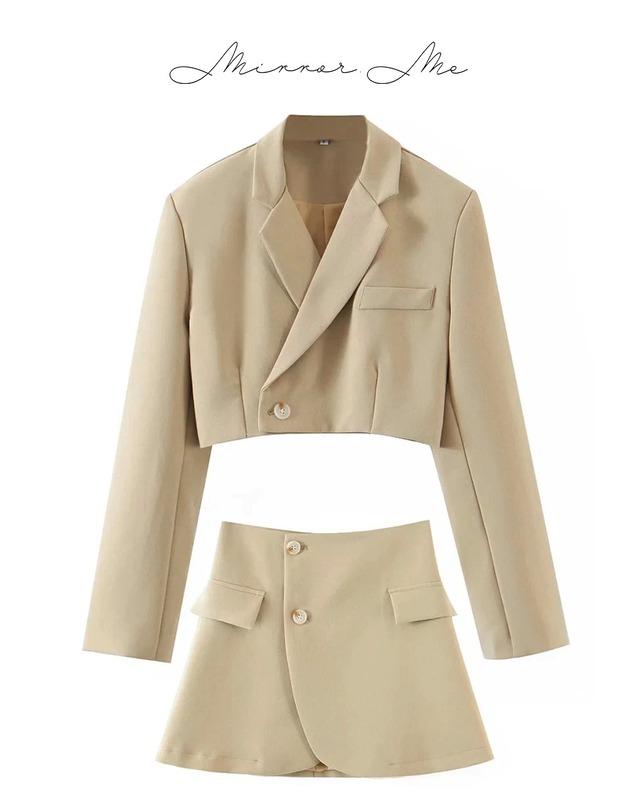 ショート丈ジャケット&スリットスカートセットアップ 4色展開