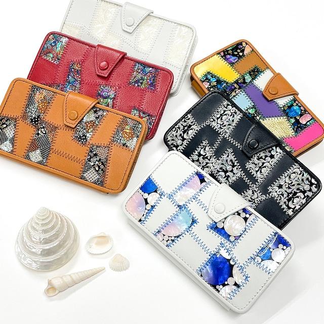 【iPhone13対応】天然貝×本革★革新的技法の手帳型iPhoneケース|螺鈿アートパッチワーク