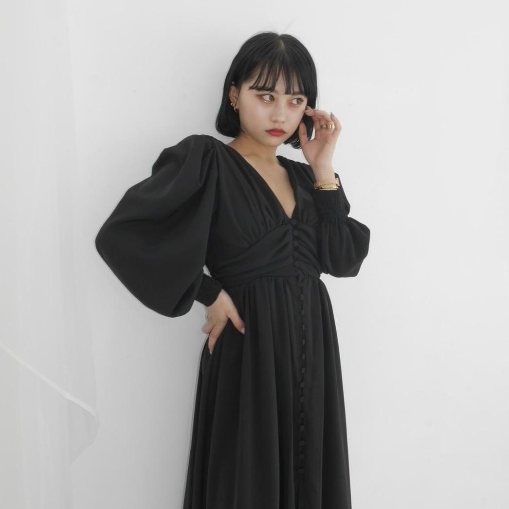 【Belle】LAST3 long gather onepiece / black