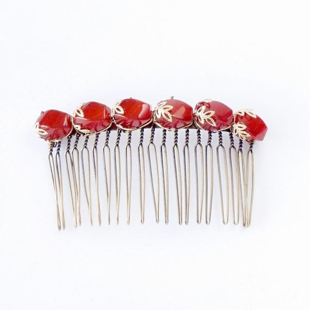 和装ヘア飾りコーム/赤メノウとゴールド透かしパーツ