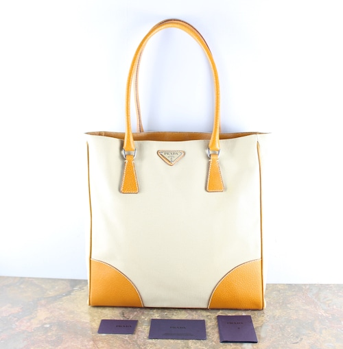 .PRADA LOGO LEATHER CANVAS TOTE BAG MADE IN ITALY/プラダロゴレザーキャンバストートバッグ2000000052694