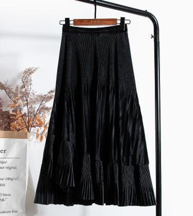 【予約販売】スウェードタイプ プリーツ フリル アシンメトリー スカート・ブラック