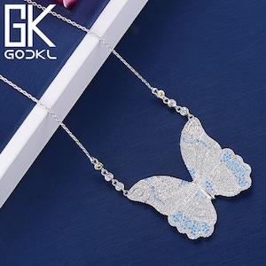 GODKI ファッション蝶フルマイクロ AAA キュービックジルコンペンダントネックレスBlue