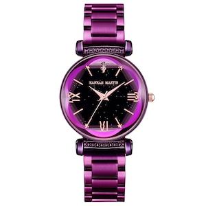 新日本MIYOTAムーブメントレディース高品質ブライトパープルステンレススチールマグネットメッシュ腕時計防水RelogioFemininoD7-Z