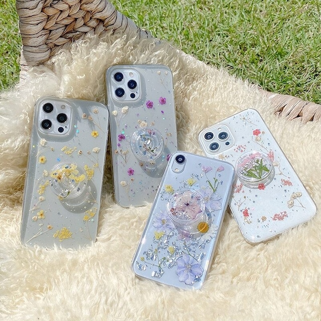 グリップ付き Real dried flowers iphone case