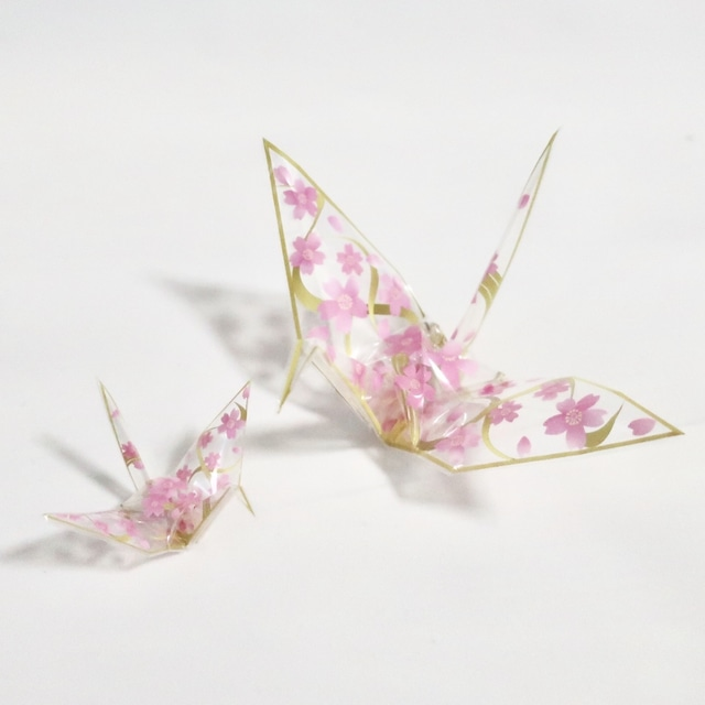 新素材おりがみ オリエステルおりがみ®︎ 桜模様の鶴 金魚模様の鶴