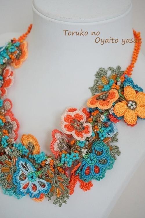 ★セット価格★ フラワーガーデン ネックレス+ブレス セット (アジャスター付き) オレンジ系: FGS1-2