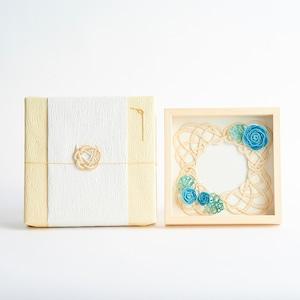 【オーダーギフト】水引お祝いフレーム 青いバラ(神の祝福)