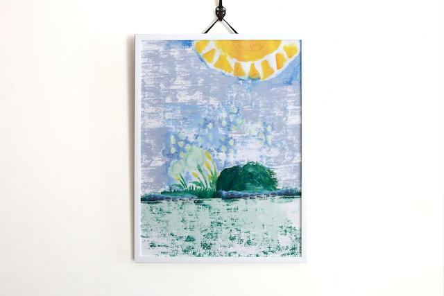 【アートフレーム】たんぽぽと山と太陽 -Addict-