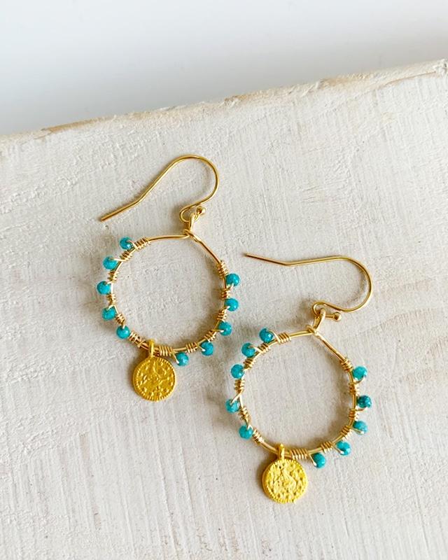stone & coin pierced earrings