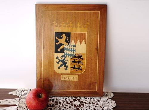 木象嵌細工 バイエルン州紋章 パネル壁掛け インタルシオ インレイ
