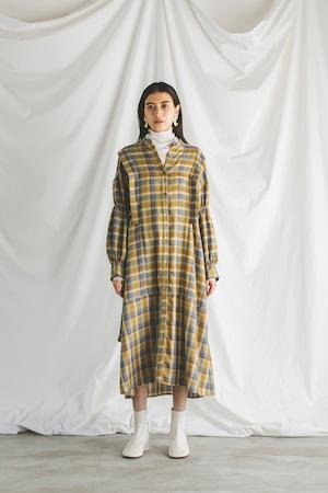 ヴィラゴスリーブチェックドレス < マスタード >