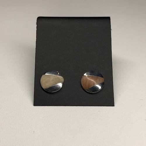 丸型 ピアス 01 ダークブラウン + ナチュラルベージュ(ペア)