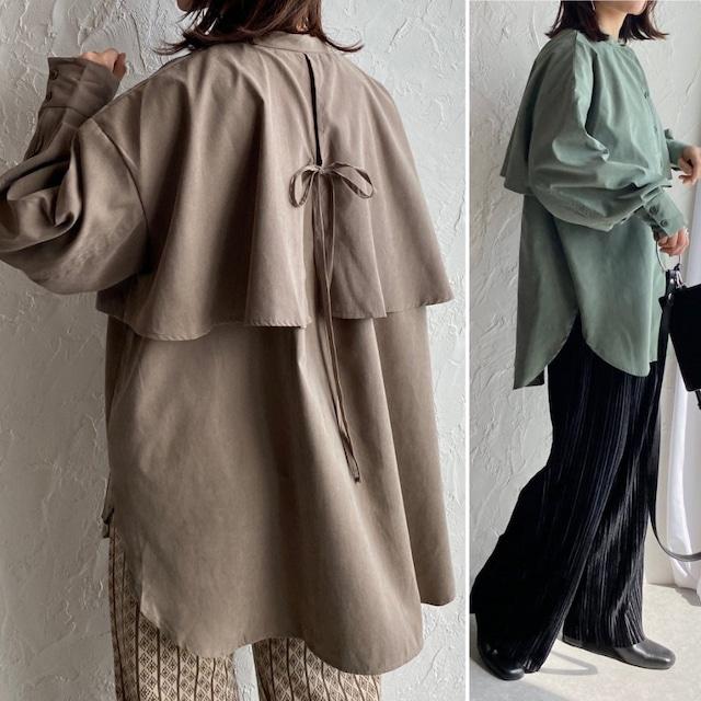 ◆即納◆ヨークデザインバックリボン長袖ボリュームスリーブバンドカラーケープシャツ ZEN-SB-CAP2