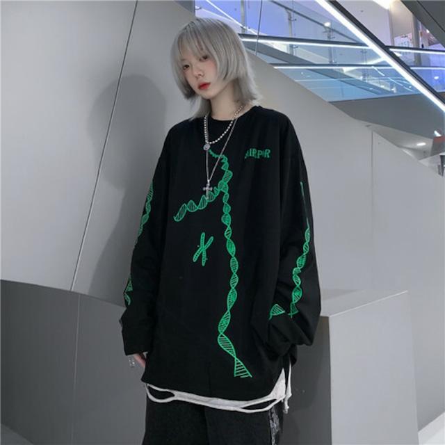 【トップス】ストリート系プリント幾何模様長袖Tシャツ43007761