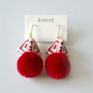 kincot 糸巻きポンポンピアス(レッド×ホワイト)