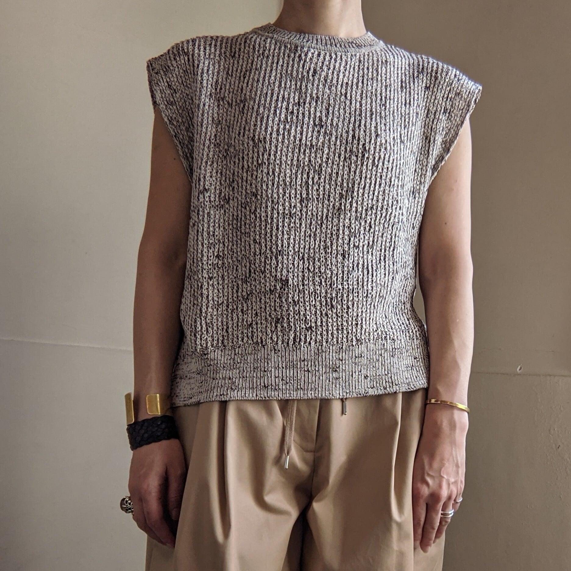 【 OTOÄA 】オトア / cotton knit vest / ベスト / コットンニット / IVORY×CHACOAL