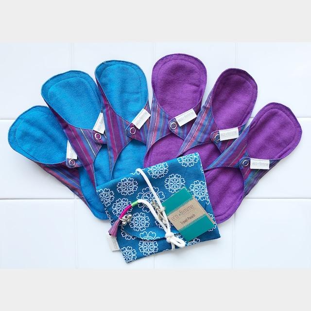 トラベルポーチ付き軽い日用(防水あり/なし)肌面:オーガニック染料使用フランネル各3枚×2セット/1 Travel Pouch, 3 Pantyliners - Vibrant Organic each With PUL and Without PUL
