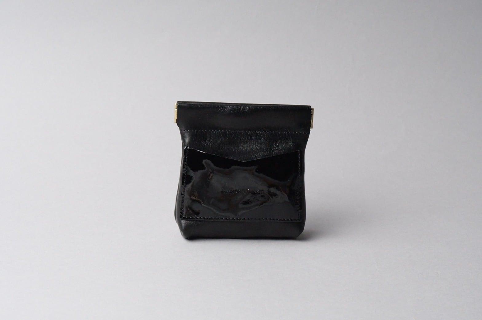 ワンタッチ・コインケース long ■ブラック・エナメルブラック■ - 画像2