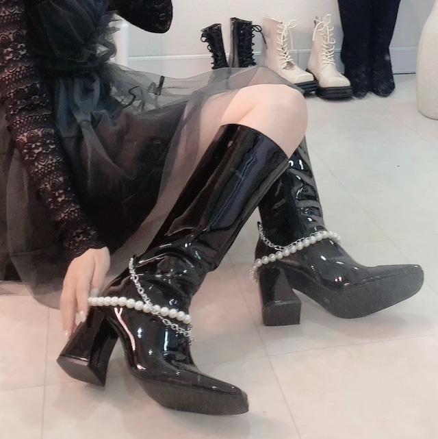 【即納】パール付きエナメルロングブーツ