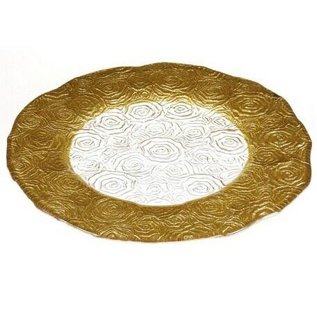 IVV Roseto 31cm Gold プレート   【イタリア製ガラス食器】