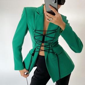 ジャケット レディース  テーラードジャケット ロング コート スーツ カジュアル ゆったり レースアップ 編み上げ 無地 9637
