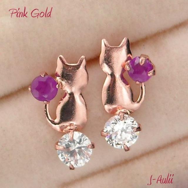 ピアス 猫 ルビー 7月誕生石 キュービックジルコニア 10金ピンクゴールド