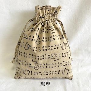 草木染ウッドブロックプリントのきんちゃく袋(珈琲)【フェアトレード】