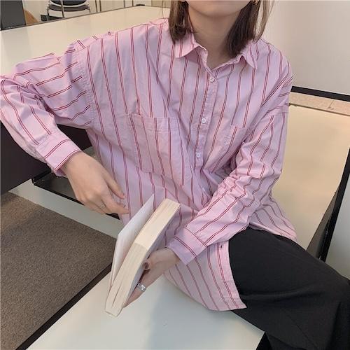 ストライプメンズライクシャツ RD7951