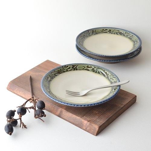 緑釉唐草文5.5寸皿