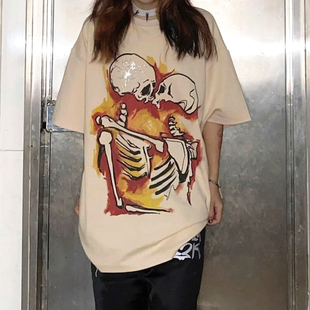 【トップス】骸骨キッスストリート系ペアルック男女兼用半袖Tシャツ47795211