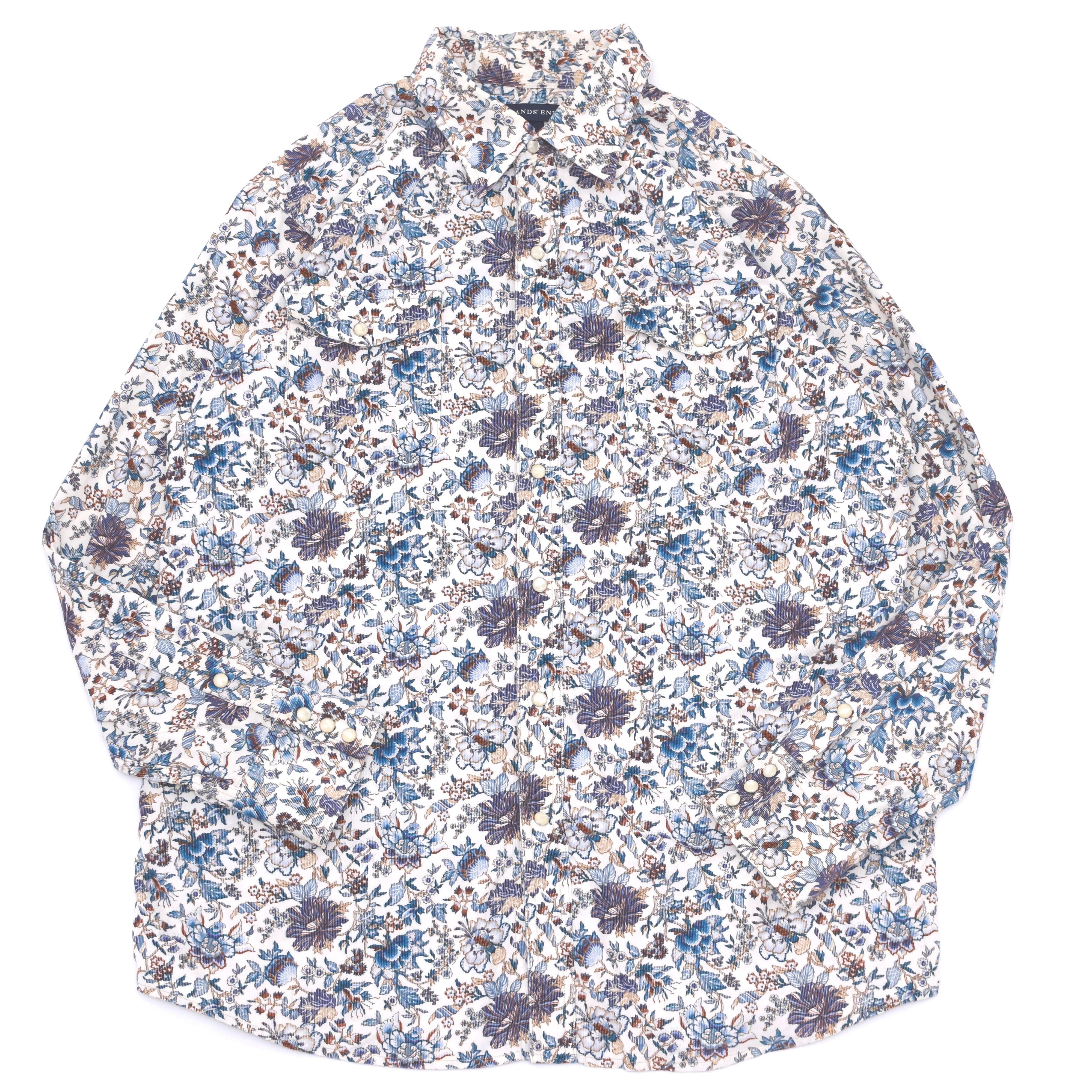 antique flower pattern corduroy LS shirt