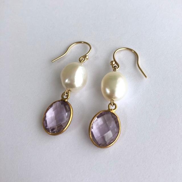 Color Gem x Baroque Pearl Pierces Two -001 / K10YG・ Pair