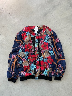 100%silk vintage floral blouson