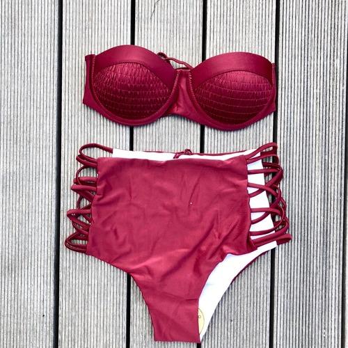 Bikini♡ボルドーワイヤーバンドゥハイウエストビキニ