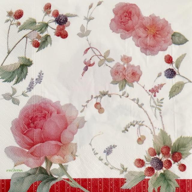 【FRONTIA】バラ売り1枚 ランチサイズ ペーパーナプキン ローズ&ベリー ホワイト