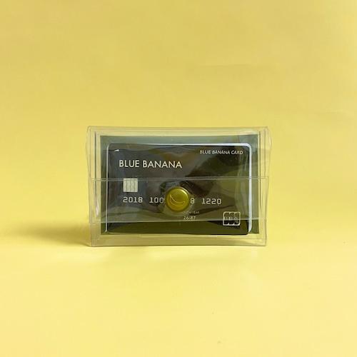 ブルーバナナパスケース/クリア×ピスタチオボタン