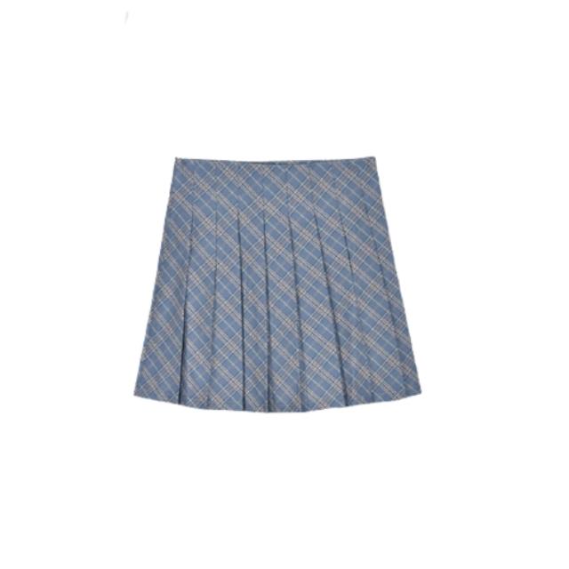 【ラスト1点送料無料】【即納】ブルーチェックプリーツスカート